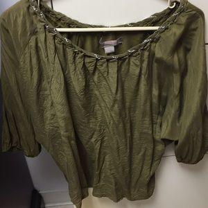 Forever 21 olive green silk shirt